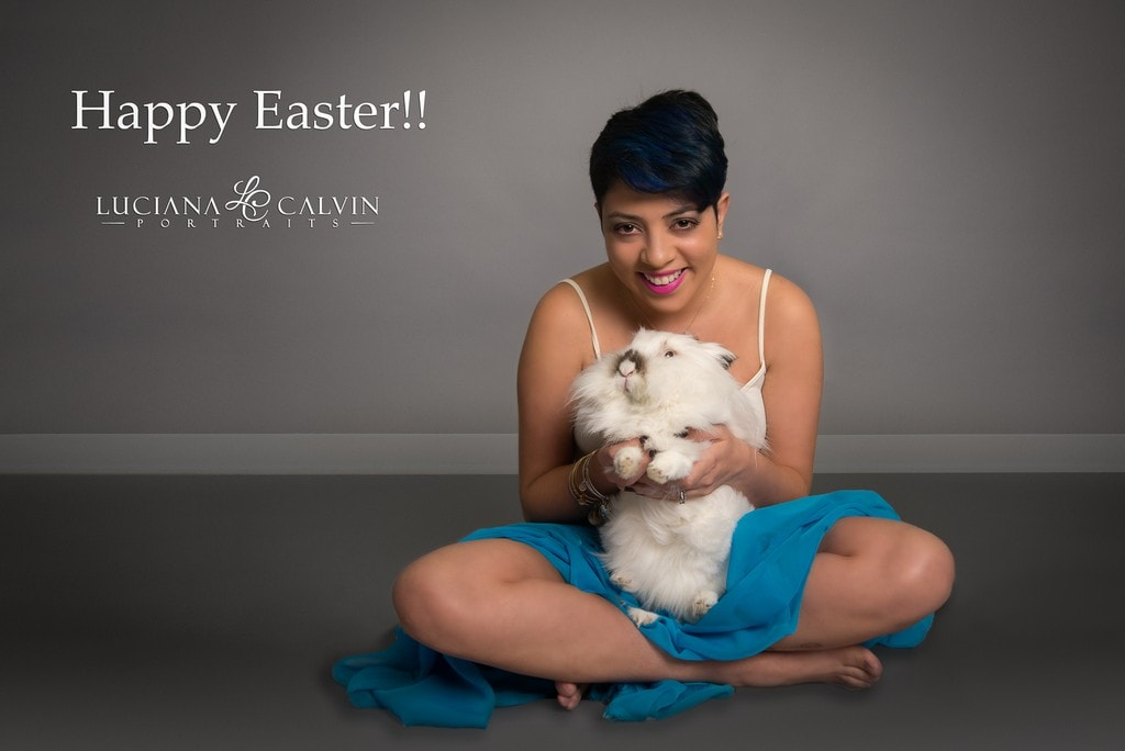 Woman and her bunny posing for photos before easter
