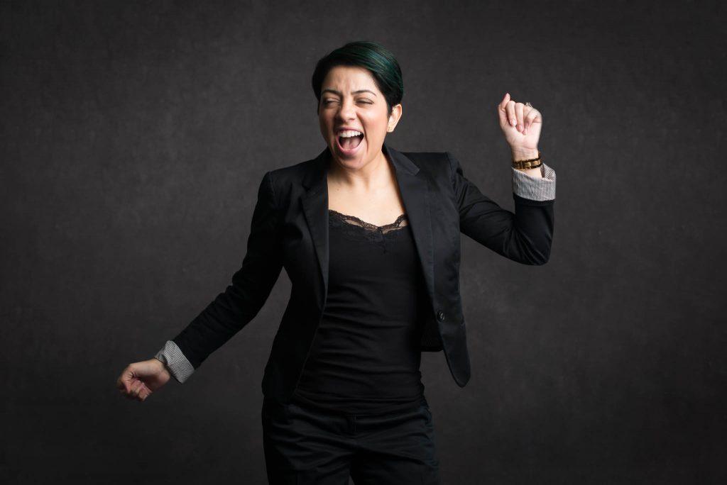 professional woman celebrating