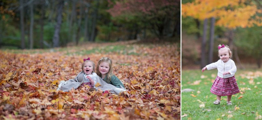 girls playing with fall leaves