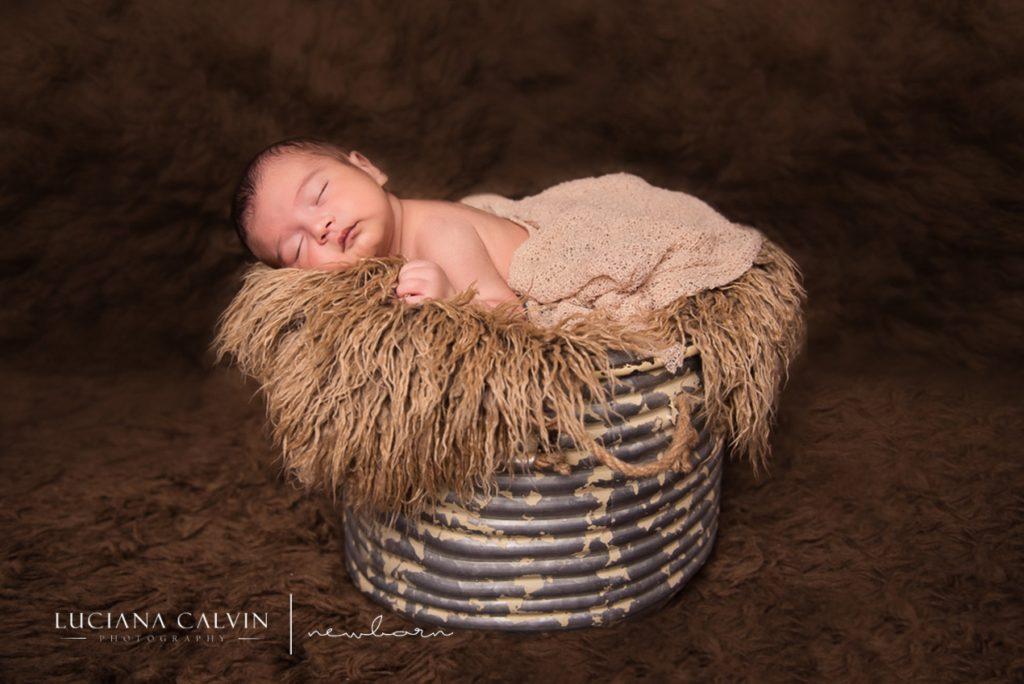 newborn sleeping on a basket on top of fur