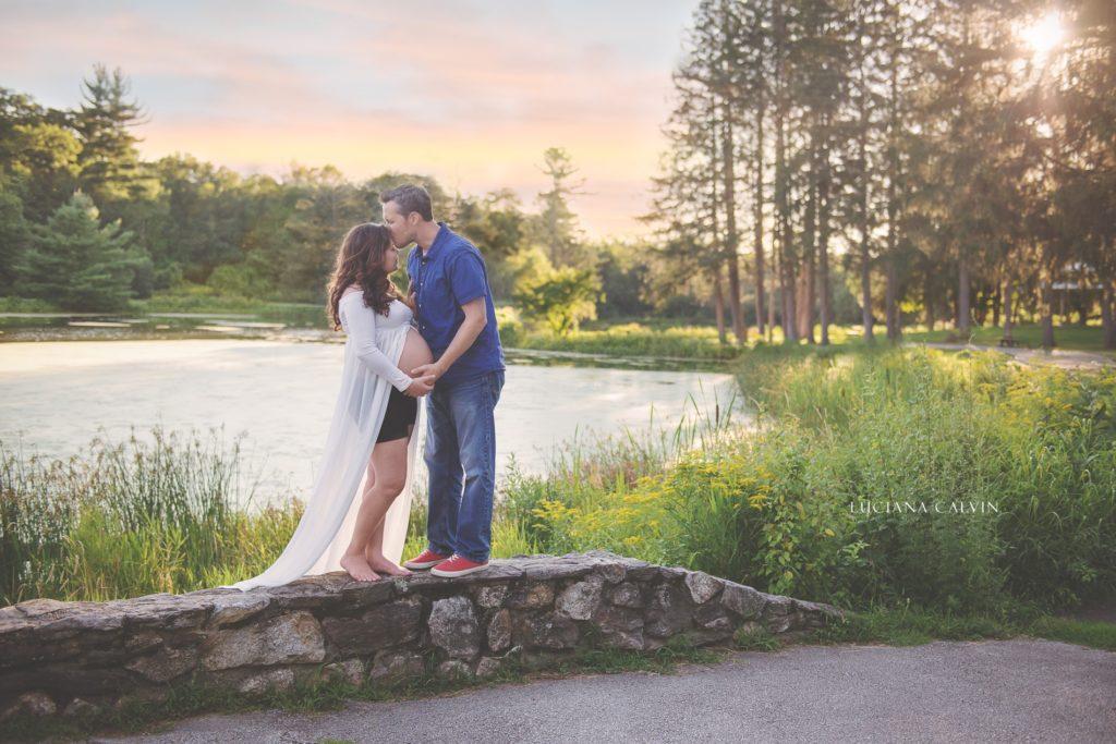 Couple kissing on sunset